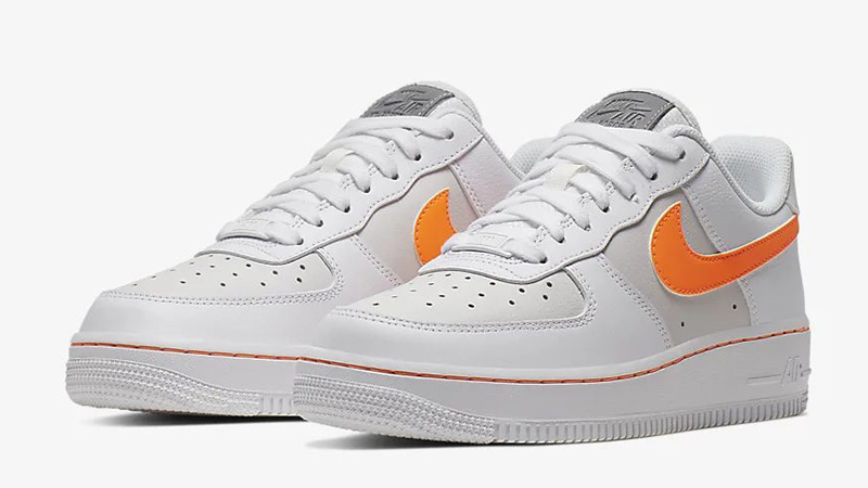 Nike Air Force 1 07 Trainers White Total Orange Platinum