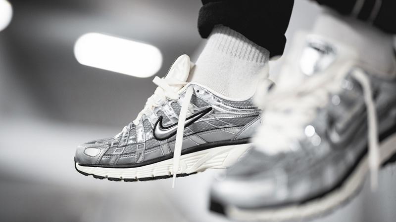 Nike P-6000 Metallic Silver CN0149-001 on foot front