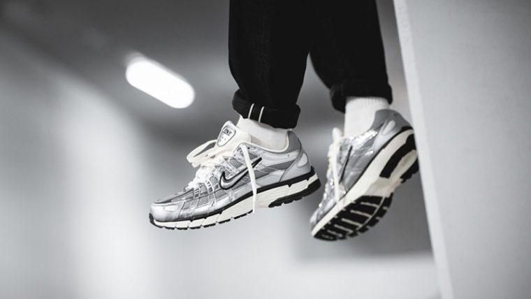 Nike P-6000 Metallic Silver CN0149-001 on foot hanging thumbnail image