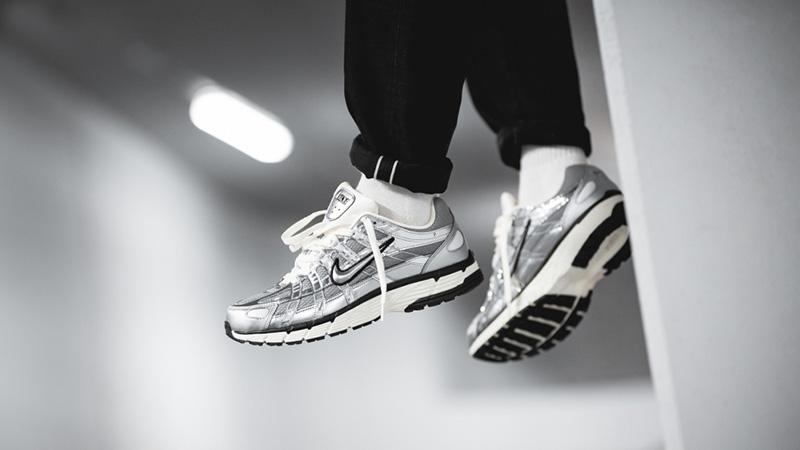 Nike P-6000 Metallic Silver CN0149-001 on foot hanging