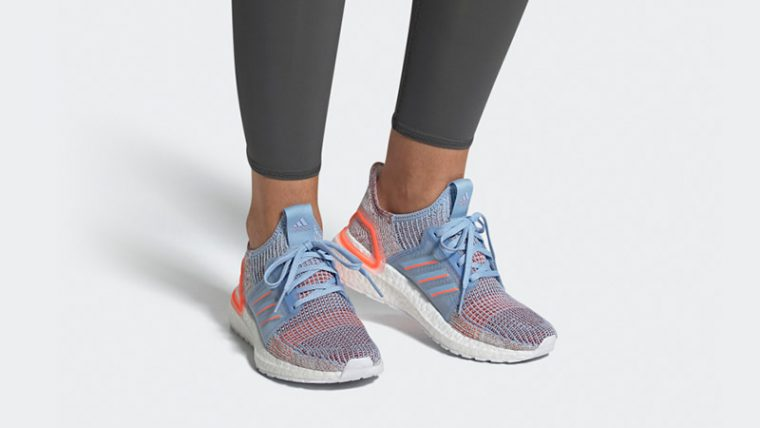 adidas Ultra Boost 19 Glow Blue G27483 on foot thumbnail image