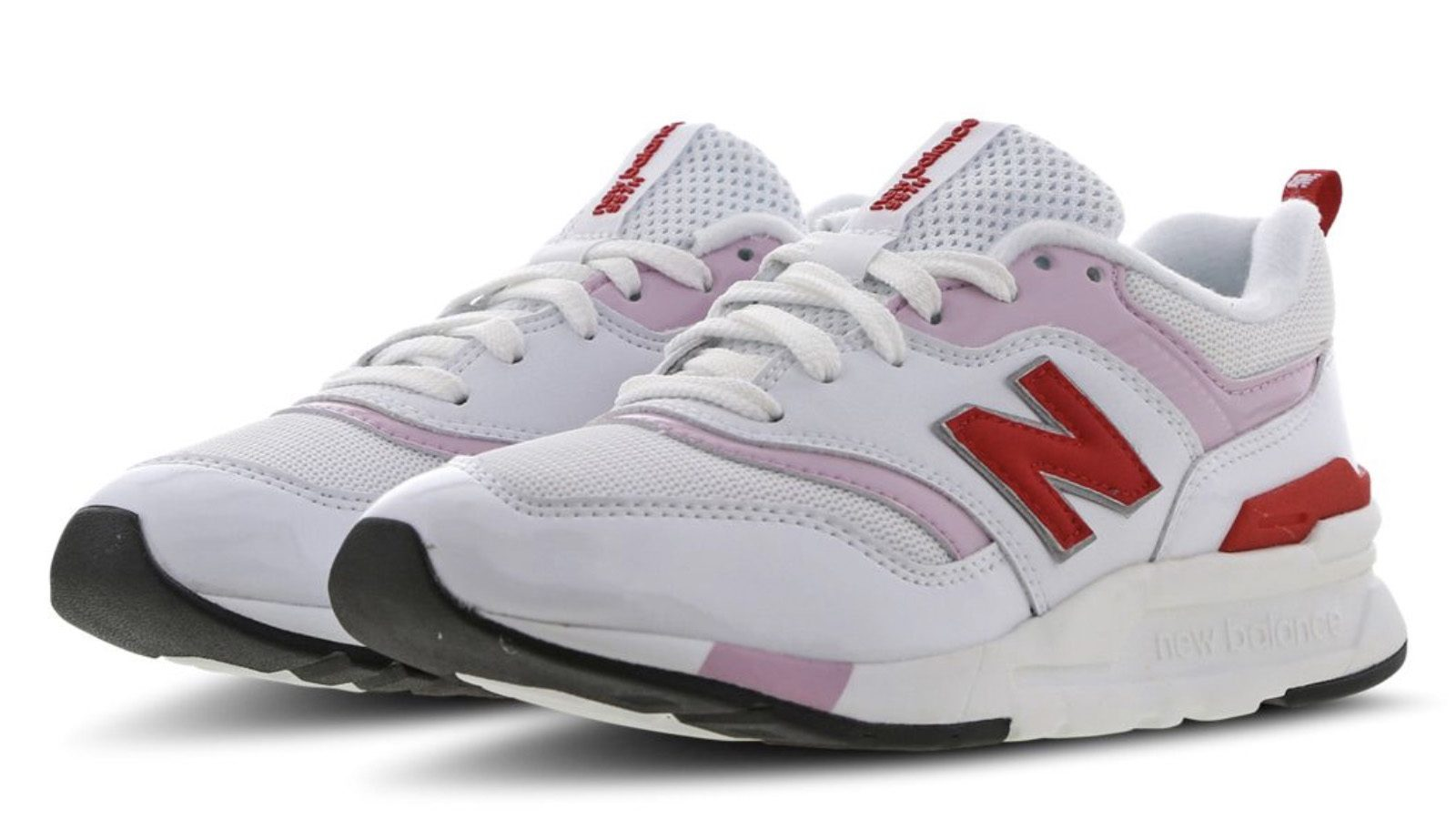 New Balance White Pink Red Front