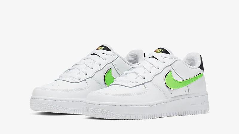 wykwintny styl ekskluzywne oferty duża obniżka Nike Air Force 1 LV8 3 GS Velcro Swoosh White Green | AR7446-100