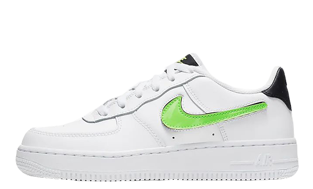 Nike Air Force 1 LV8 3 GS Velcro Swoosh White Green | AR7446 100