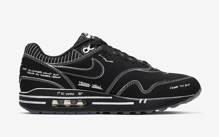 A Closer Look At The Nike Air Max 1 Black Schematic from the
