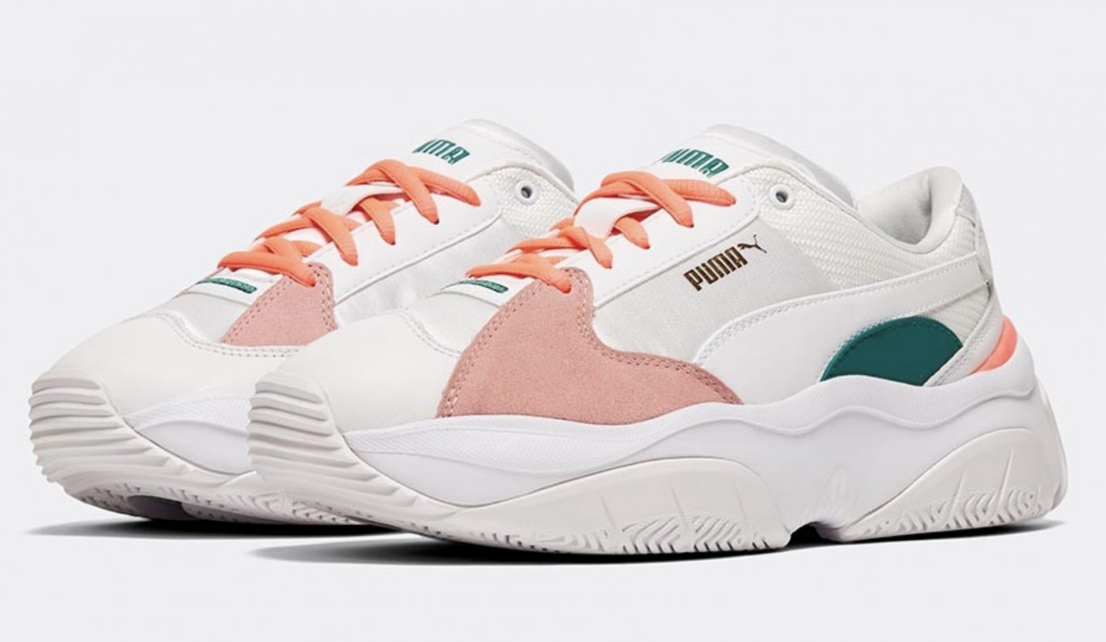 Puma Storm Y Metallic White Pink Green
