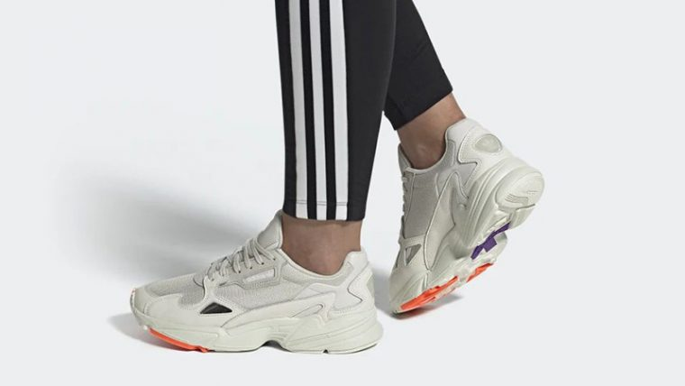 adidas Falcon White Purple EE5118 on foot thumbnail image