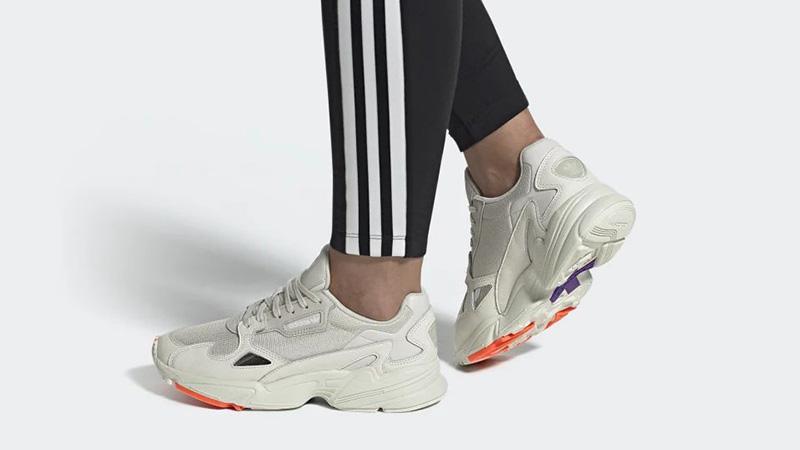 adidas Falcon White Purple EE5118 on foot