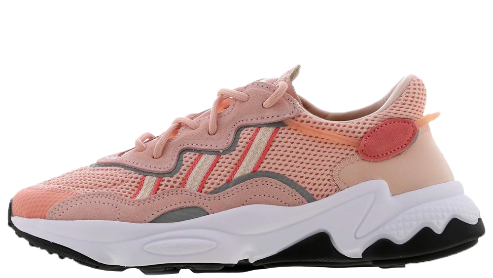 If retro styled sneakers are your thing, then you need to take a closer look at this brand new adidas Ozweego Pink. Inspired by the 90's and 00's, this silhouette is going to be adding an old school flare to your contemporary fits. Dressed in a mix of breathable mesh and premium suede, this silhouette showcases a tonal upper in hues of peachy pink and reflective 3M detailing that wraps around the lace unit and sidewalls of the Pink adidas Ozweego. 3-Stripe branding to the sidewalls stands out against the pink mesh, where lighter and darker hues outline the signature branding, as well as the Trefoil branding on the tongue of the shoe. Underneath, an EVA midsole with Adiprene technology under the heel and forefoot, cushioning each part of your stride and making sure that your feet are kept happy all day long. The adidas Ozweego Pink is available right now at the retailers listed on this page, if you're looking to get this silhouette into your rotation, be sure to head to the links on this page to shop your pair today!