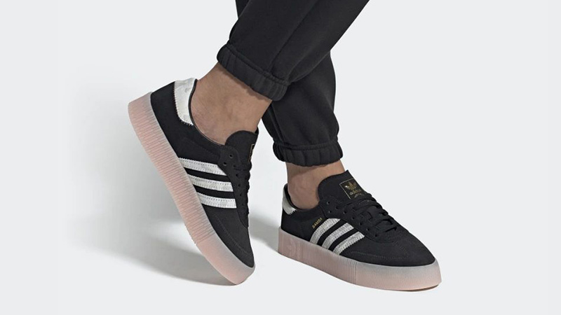 adidas Sambarose Black Pink EE4678 on foot