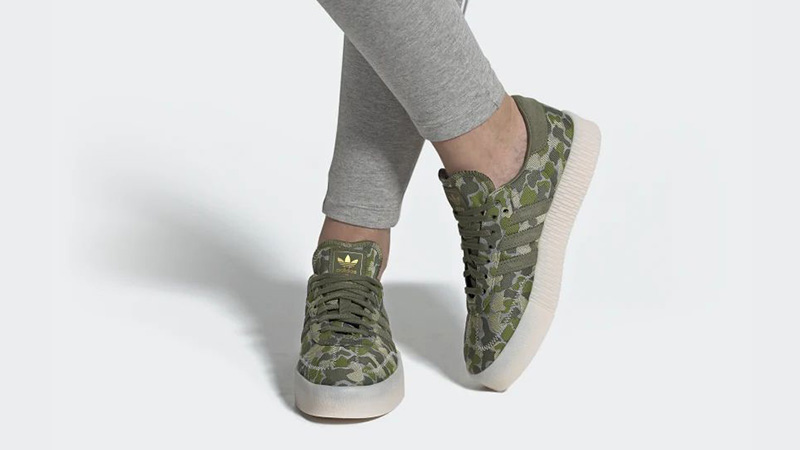 adidas Sambarose Khaki Camo EE4677 on foot
