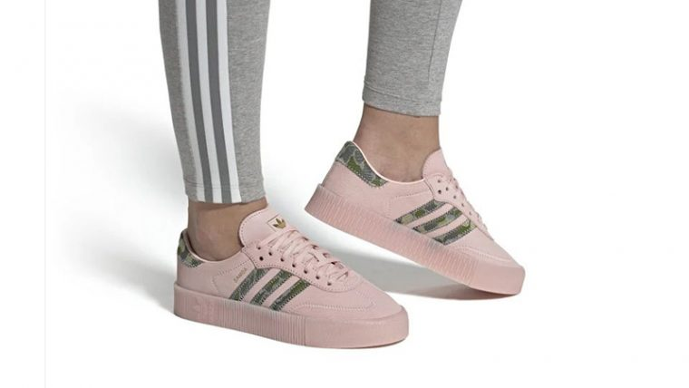 adidas Sambarose Pink Gold EE4679 on foot thumbnail image
