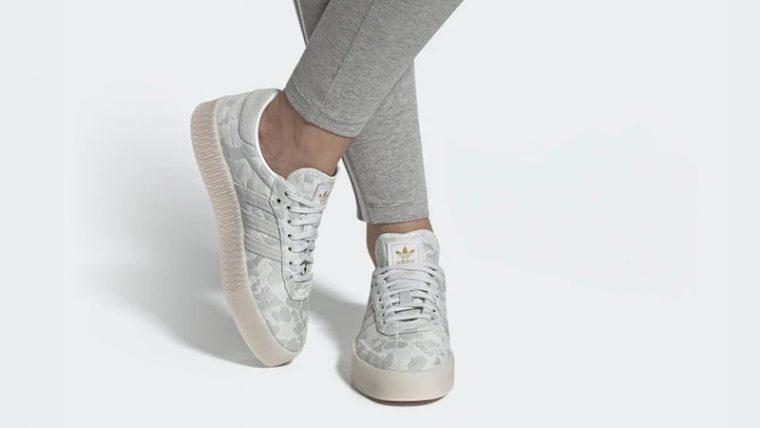 adidas Sambarose White Camo EE4676 on foot thumbnail image