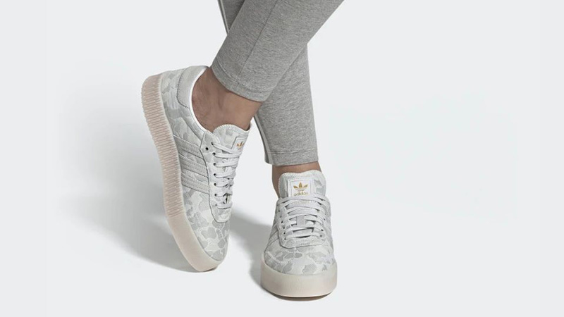 adidas Sambarose White Camo EE4676 on foot