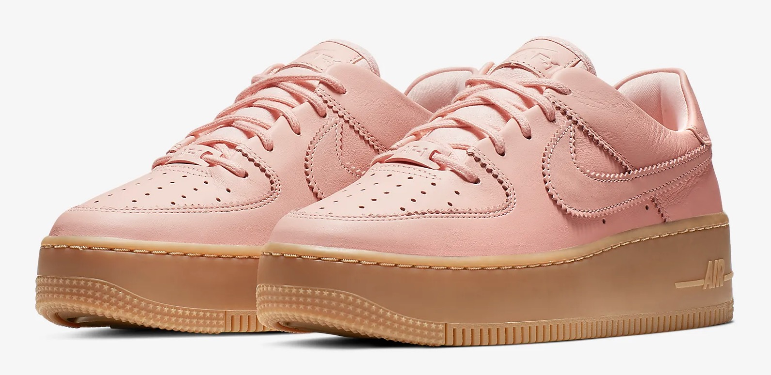 Get Nearly 50% Off This Pink Nike Air Force 1 Sage In Washed Coral 5 diaognal