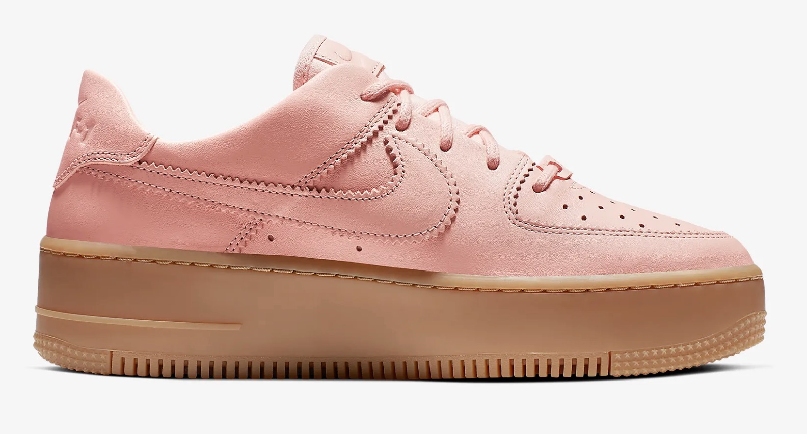 Get Nearly 50% Off This Pink Nike Air Force 1 Sage In Washed Coral 5 side right