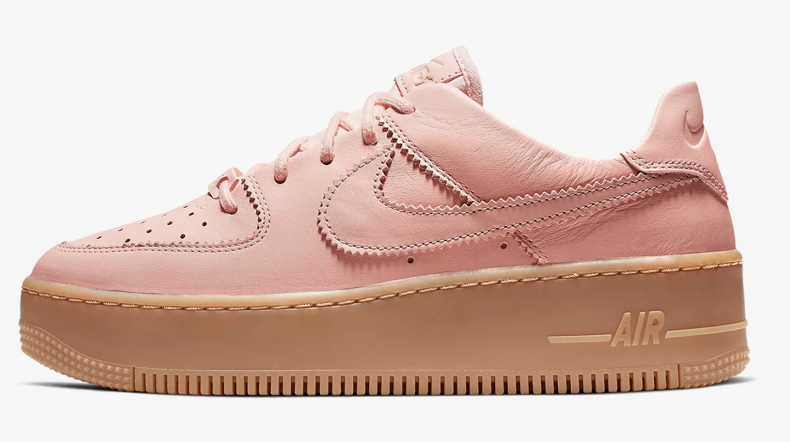 Get Nearly 50% Off This Pink Nike Air Force 1 Sage In Washed Coral 5 side left