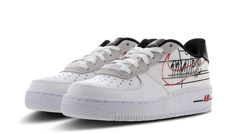 Nike Air Force One 1 Low Script Swoosh White Black