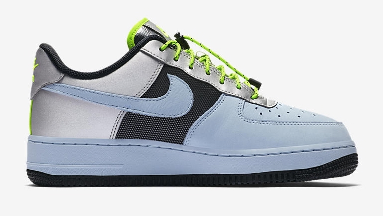 Nike Air Force 1 Neon Green Metallic Silver side