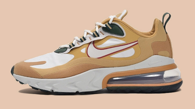 Nike Air Max 270 React Beige Green Side feature