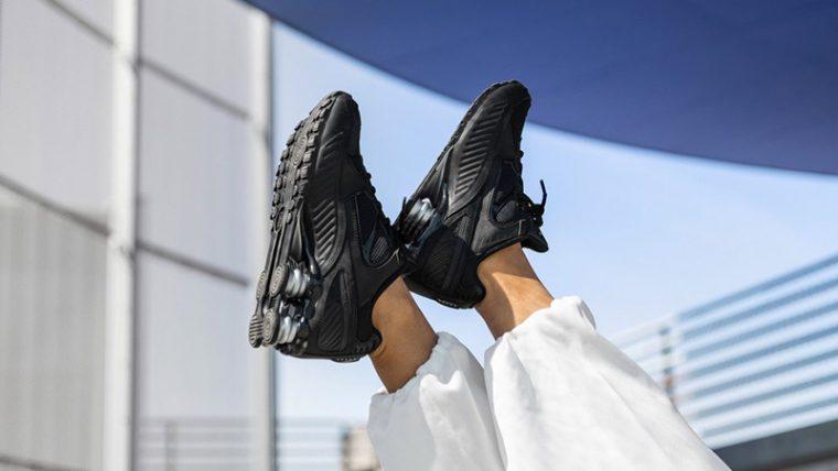 Nike Shox Enigma 9000 Black BQ9001-004 on foot front thumbnail image