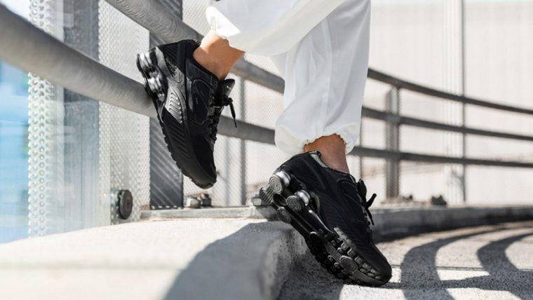 Nike Shox Enigma 9000 Black BQ9001-004 on foot side thumbnail image