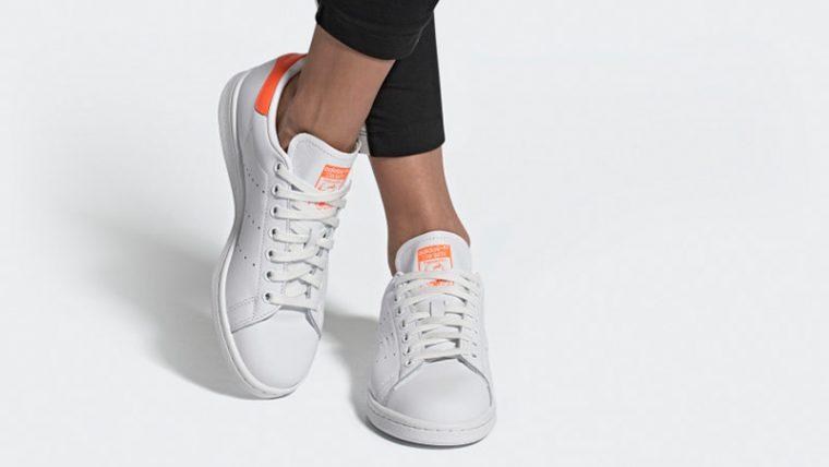 adidas Stan Smith White Orange EE5863 on foot thumbnail image
