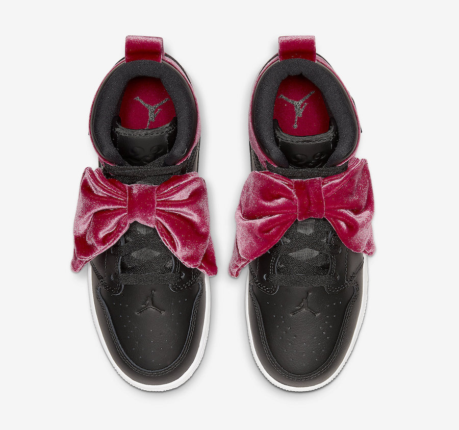 Air-Jordan-1-Mid-Bow-Black-Noble-Red-CK5678-006-Release-Date-2 laces