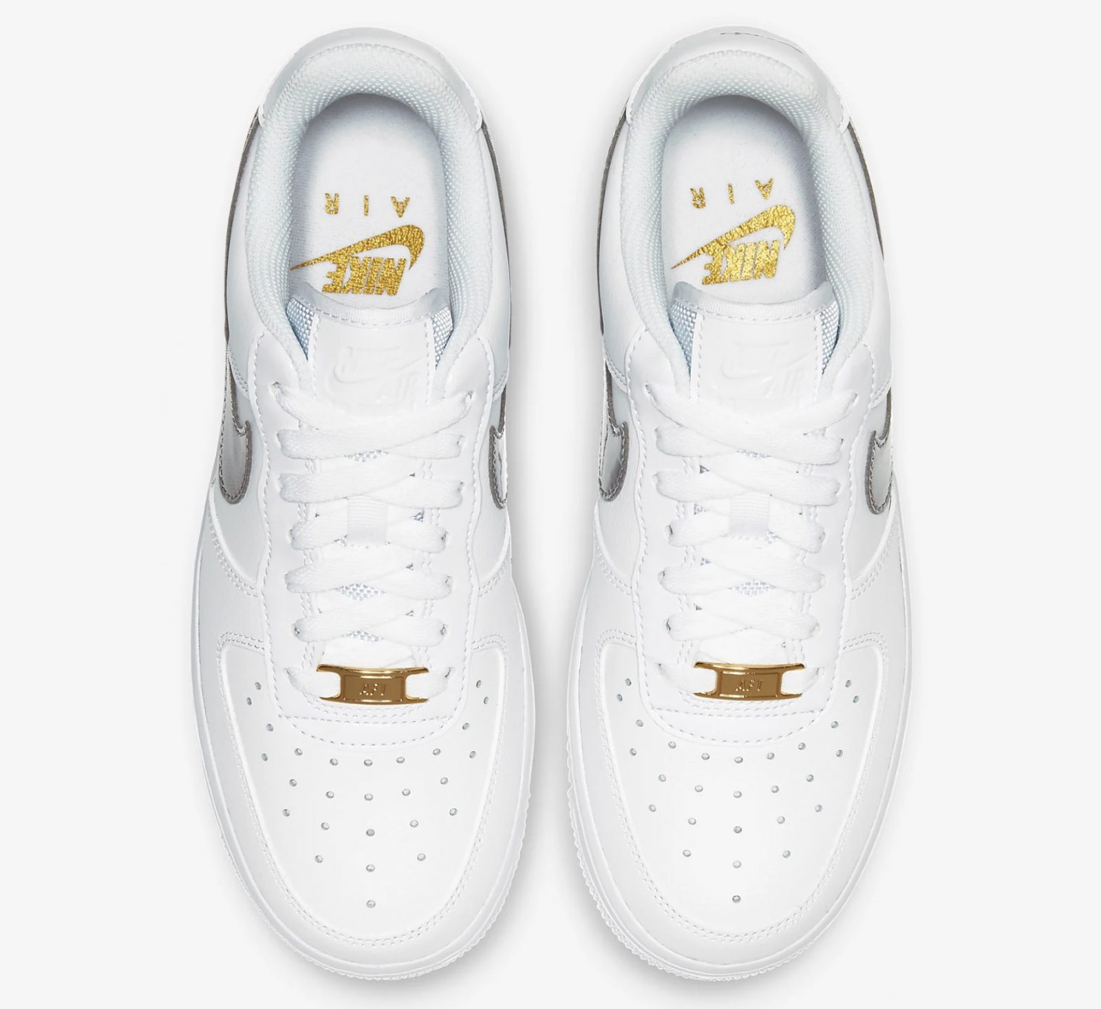 CT2549-100 Nike Air Force 1 Silver Gold laces