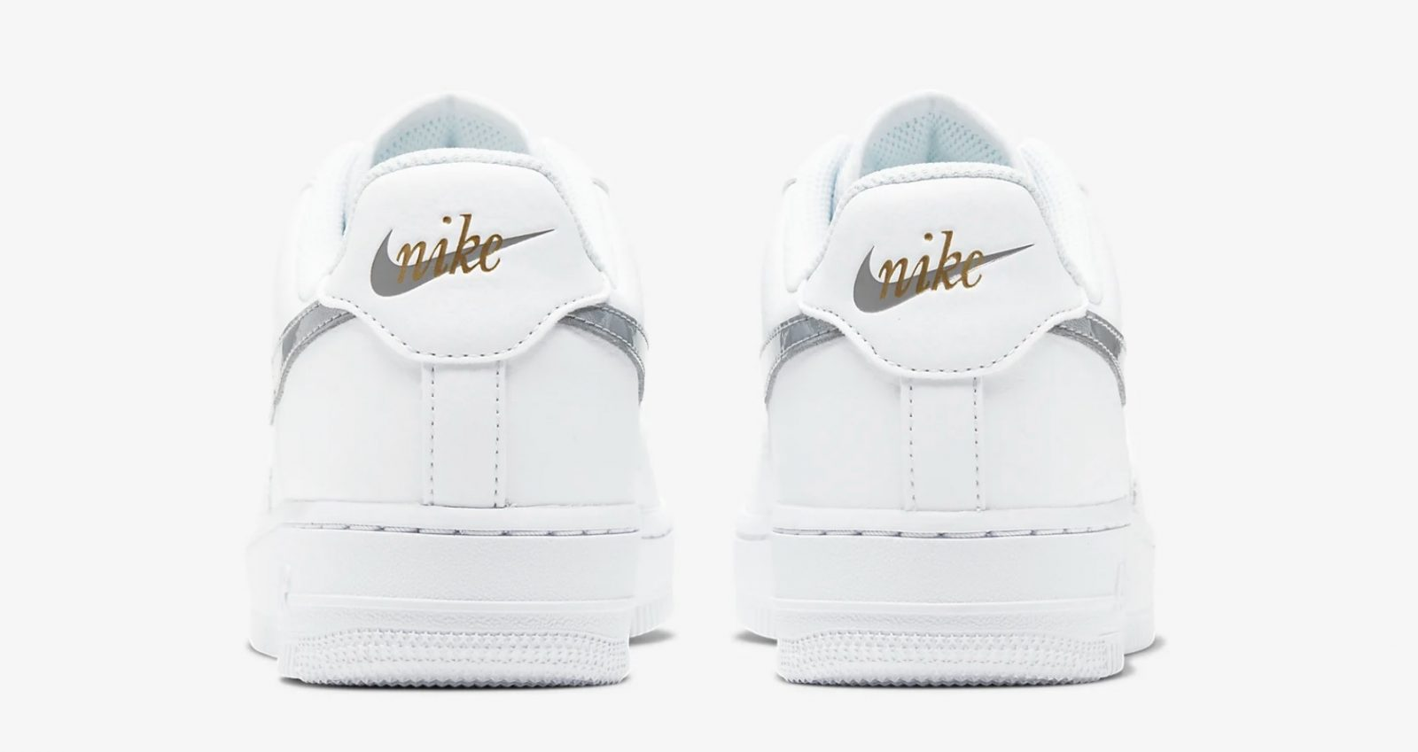 CT2549-100 Nike Air Force 1 Silver Gold heel