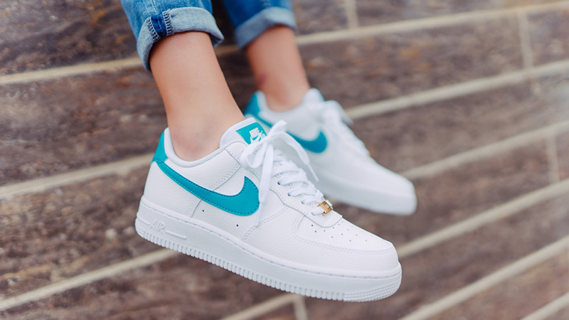 Nike Air Force 1 Low White Teal Nebula AH0287 109Eneste kvinder AH0287 109 The Sole Womens