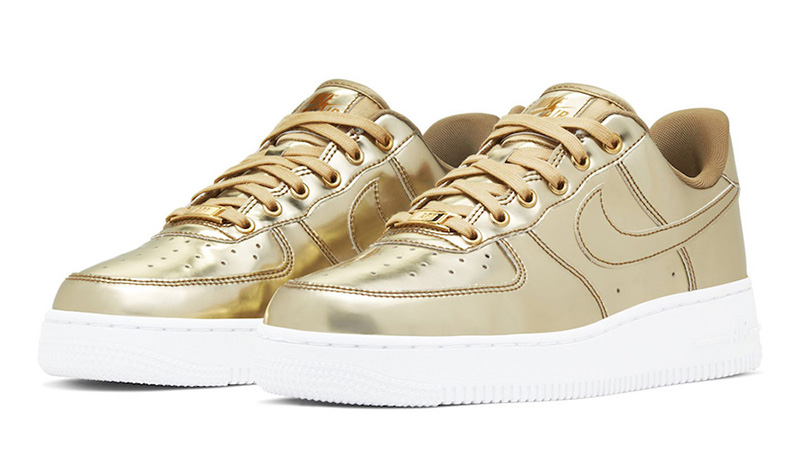 Nike Air Force 1 SP Liquid Metal Pack Gold front