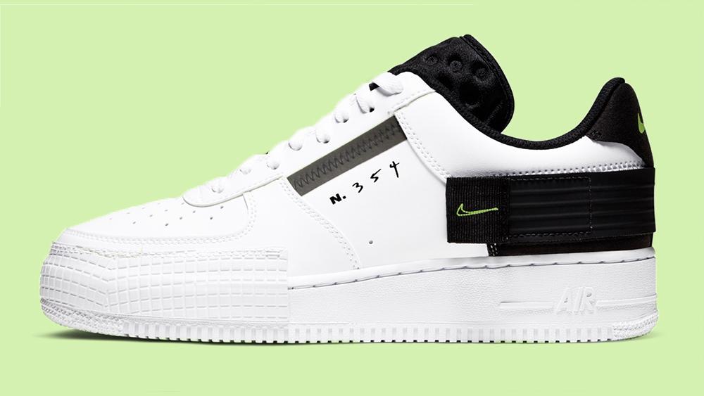 Nike Air Force 1 Type Black White Green