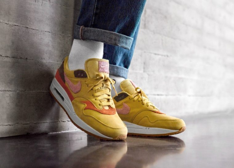 Nike Air Max 1 Crepe Wheat Gold Rust Pink CD7861-700 on foot side thumbnail image