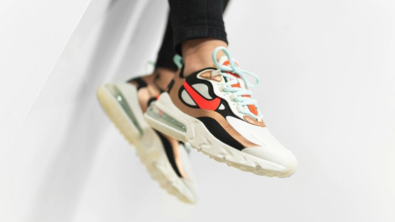 Nike Air Max 270 React Pure Platinum CT3428-100 on foot front