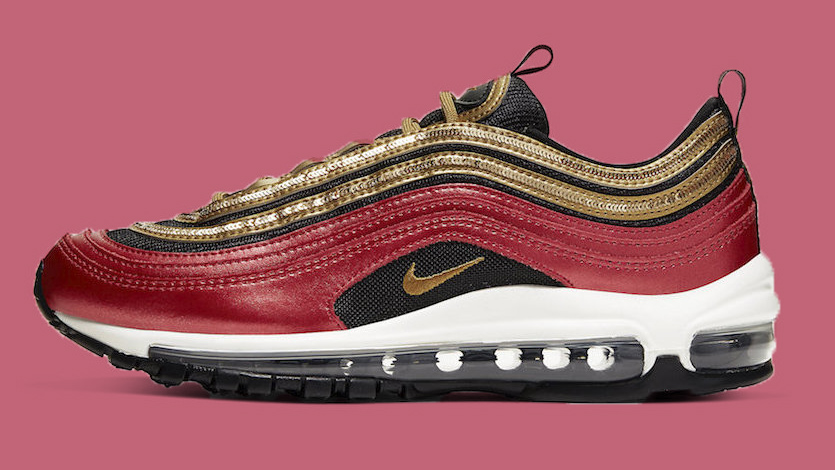 Nike Air Max 97 Red Glitter Gold copy