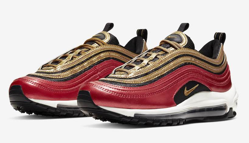 Nike Air Max 97 Red Glitter Gold front