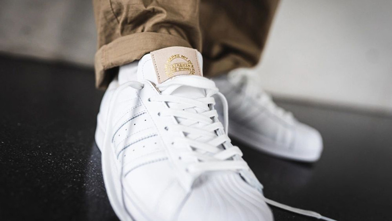 adidas Superstar Home of Classics White EF2102 on foot tongue
