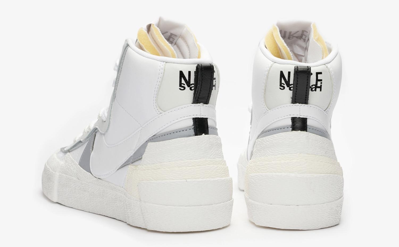 sacai x Nike Blazer Mid White | BV0072-100 1 heel