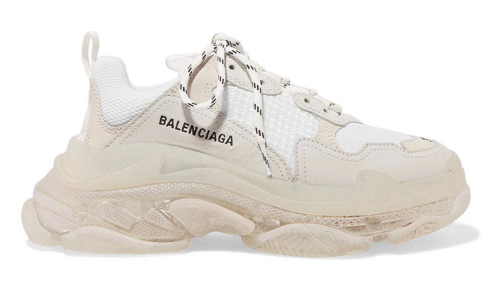 Balenciaga Triple S Clear Sole logo-embroidered leather, nubuck and mesh sneakers White