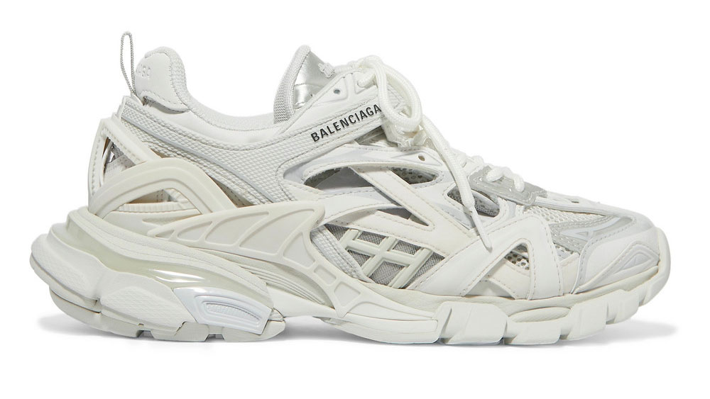 Balenciaga Track 2 logo-detailed metallic mesh and rubber sneakers