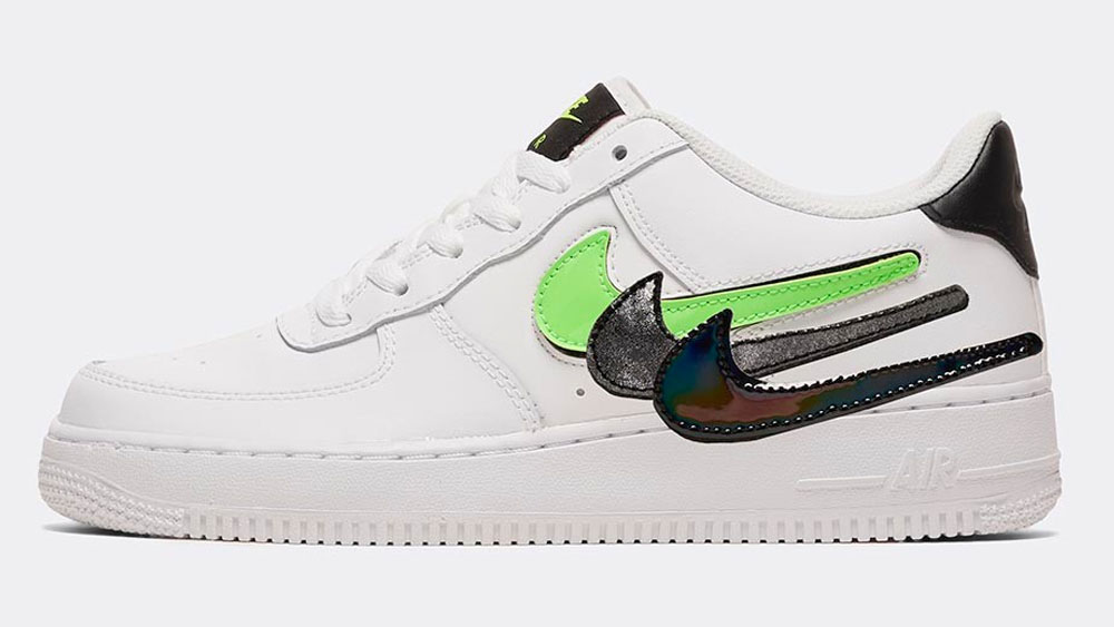 _0009_Nike Junior Air Force 1 LV8 3 GS Trainer _ White _ Black _ Green Strike