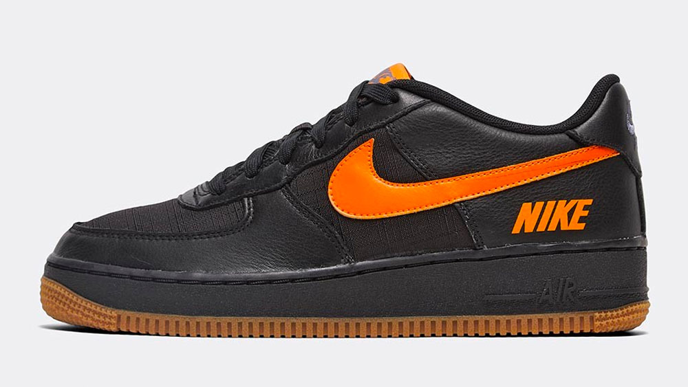 _0023_Nike Junior Air Force 1 LV8 5 GS Trainer _ Black _ Orange _ Black