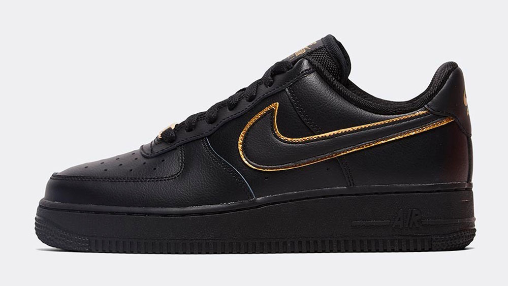 _0026_Nike Womens Air Force 1 _Glam Dunk_ Trainer _ Black _ Black _ Metallic Gold
