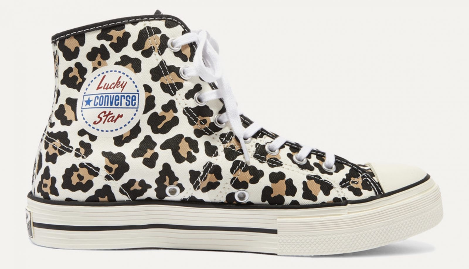 Converse Lucky Star leopard-print high-top canvas sneakers