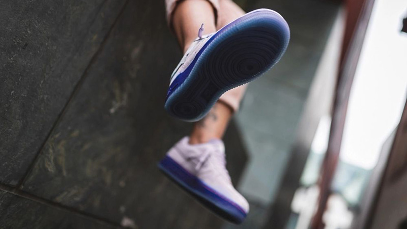 Nike Air Force 1 07 LX Purple Agate CT7358-500 on foot sole