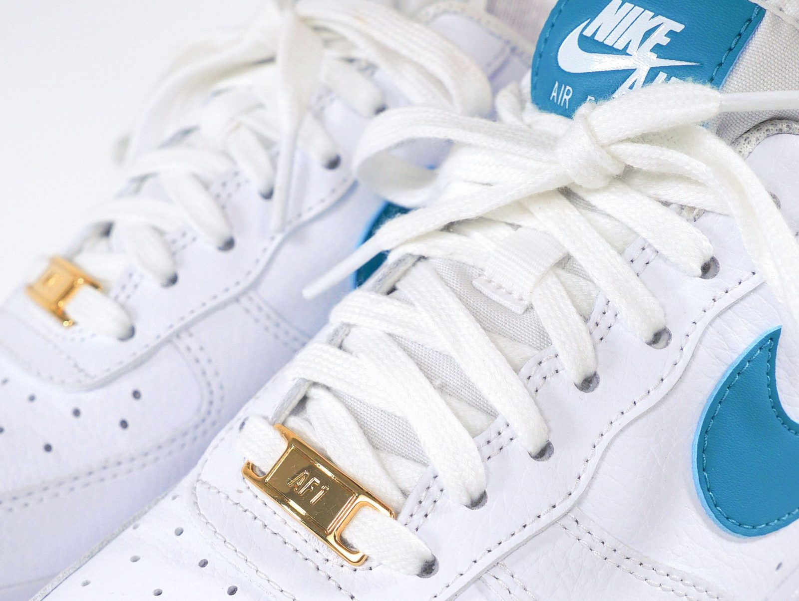 Nike Air Force 1 Teal Nebula The Sole Womens lace stay