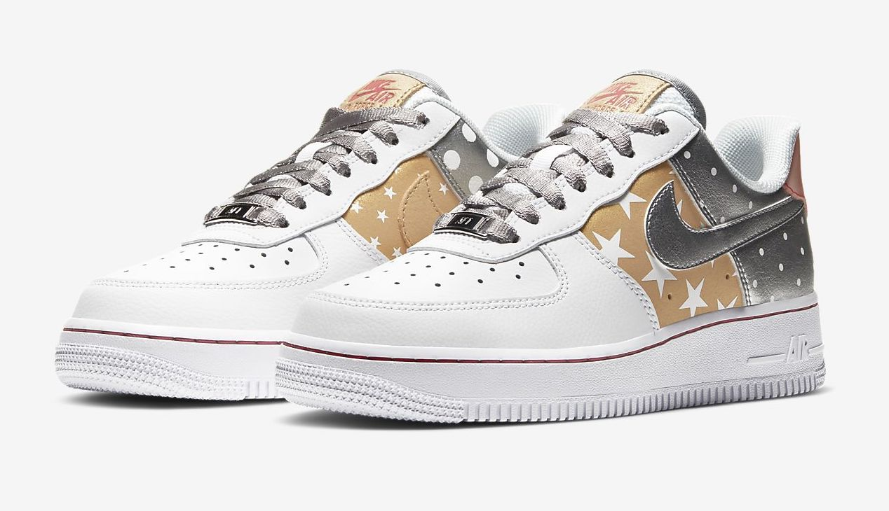 Nike Air Force 1 White Metallic Silver front