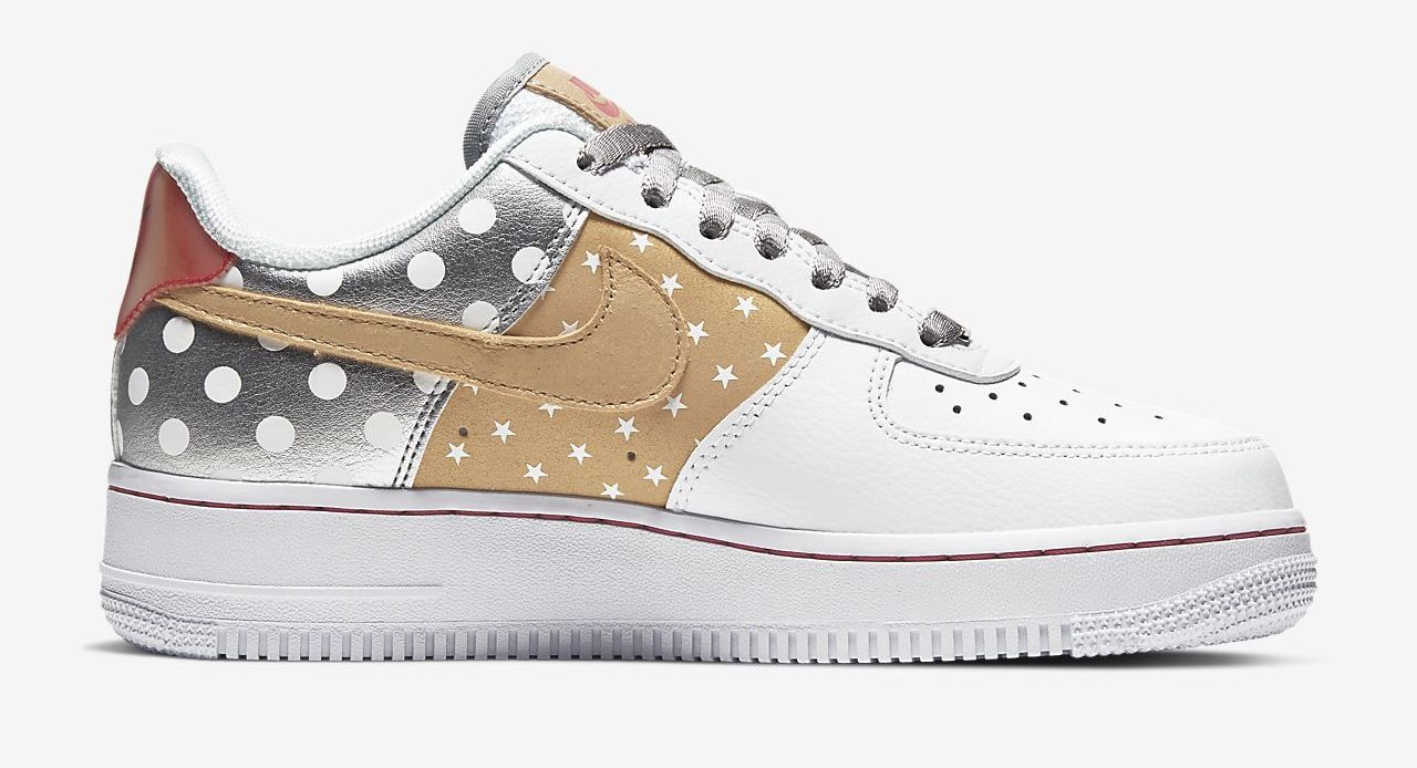 Nike Air Force 1 White Metallic Silver side