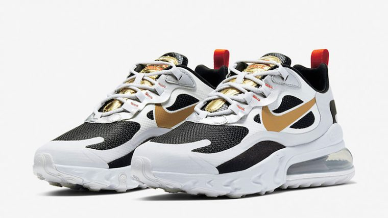 Nike Air Max 270 React Metallic Gold Swoosh CT3433 001 front thumbnail image